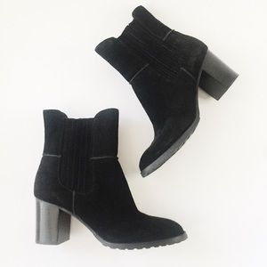 Circa Joan & David Black Suede Ankle Booties 7M